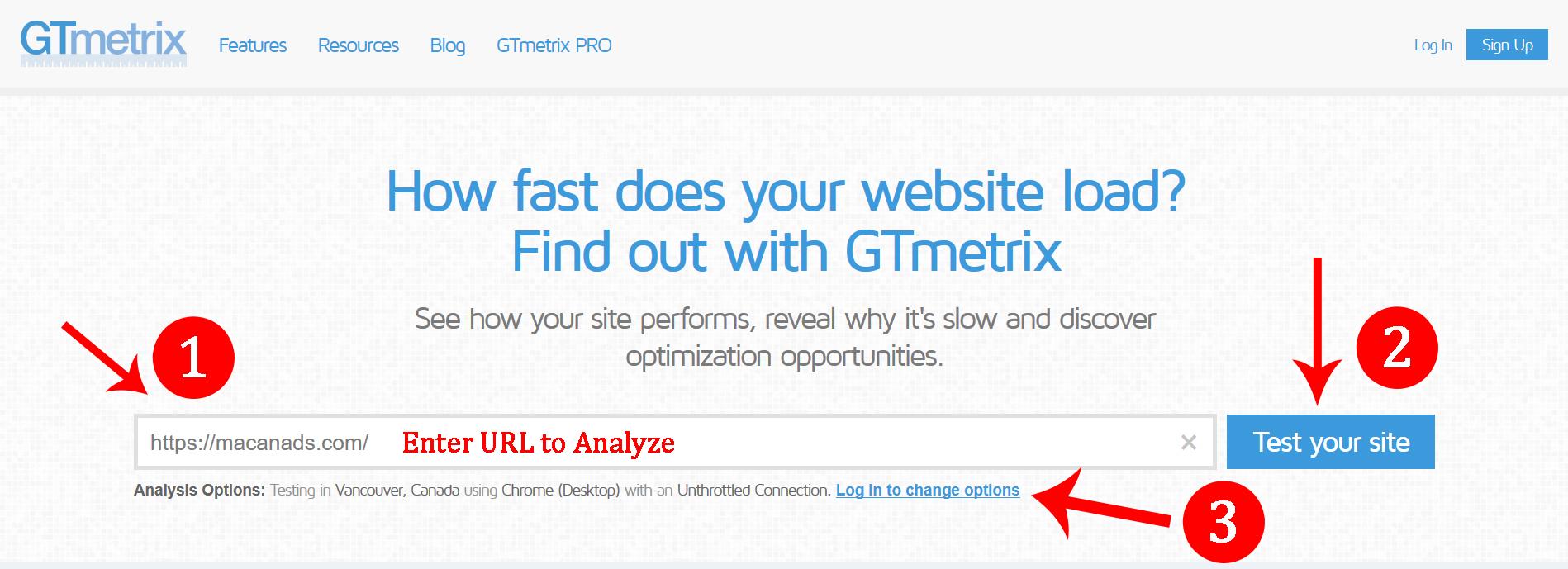 شرع کار با سایت GTMetrix